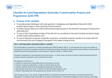 Checklist for Land Degradation Neutrality Transformative Projects and Programmes